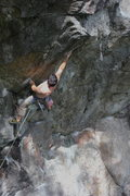 Rock Climbing Photo: Tim Greene on the first hard move under the roof