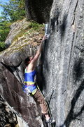 Rock Climbing Photo: Hill tickling the crimp on the red point crux
