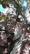 Rock Climbing Photo: stay left of the chockstone