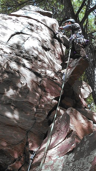 Rock Climbing Photo: Alex standing on the chockstone