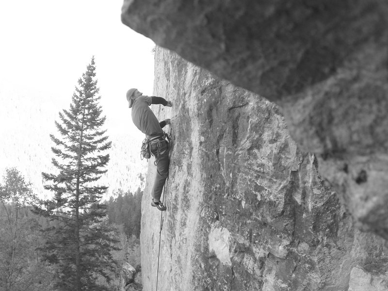 Cleveland Steamer, 5.11b<br> Bradyism Wall, Big Picture Gully.<br> Spearfish Canyon, SD.