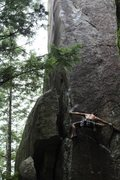 Rock Climbing Photo: End of the first crux of Cliptomaniac. Thank you s...