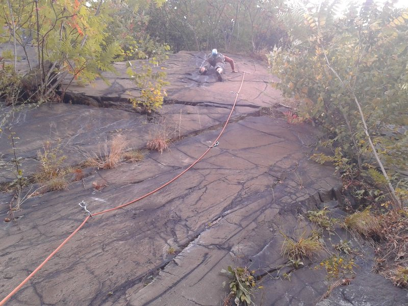 Topher working on his first lead. 4 bolts to the top anchors. Fine, fun route.