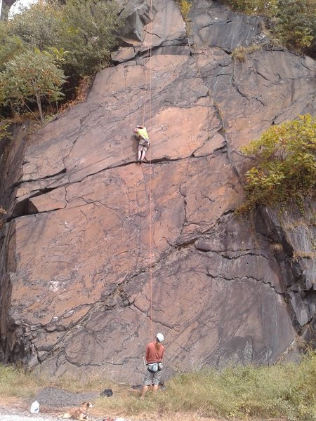 Rock Climbing Photo: Baker rockin it out on Hydroman while Topher belay...