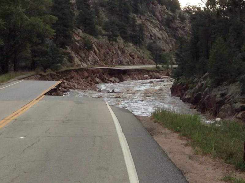 Start of the destruction on US Hwy 36 just below the Big Elk Meadows turnoff.