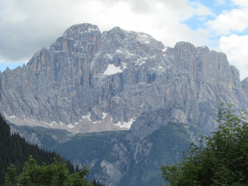 The massive and broad NW face of Monte Civetta after an early season overnight snow fall.