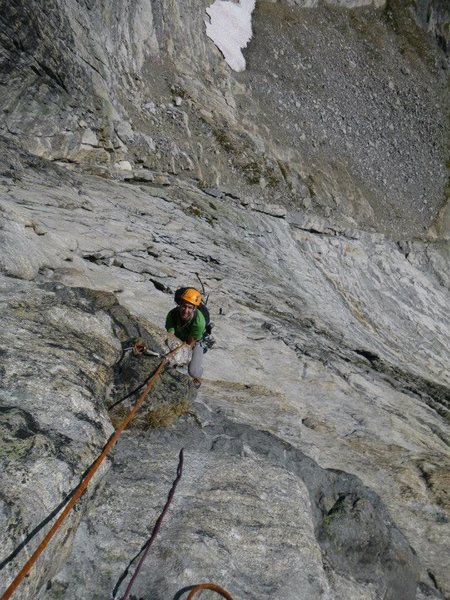 Rock Climbing Photo: Seconding the third pitch of Rumble in the Junle -...