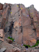 Rock Climbing Photo: A better view of the neighboring routes, the shiel...
