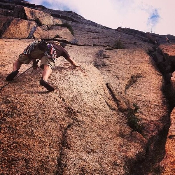 Rock Climbing Photo: Starting up the first pitch of RITS, aiming betwee...