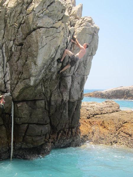 Rock Climbing Photo: Travis on the harder variation