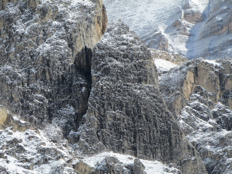 Here's the Kleiner Falzaregoturm after an overnight snowfall; maximum magnification will show a party of 3 on the summit.