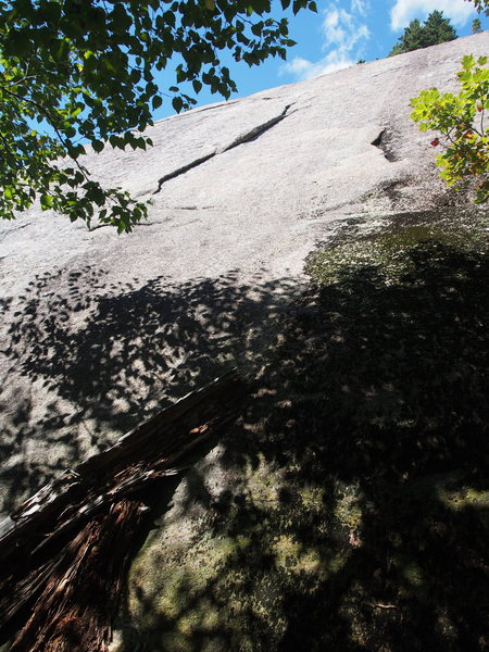 """The Flake of Hornet (5.7) 20ft Right of """"Bugs"""". """"Dick to Rescue"""" is just right of the smaller flake to the right; remainder of log shows below."""