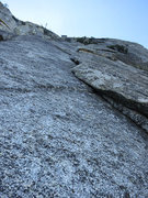 Rock Climbing Photo: Looking up the 2nd pitch of Dave's. There is a pin...