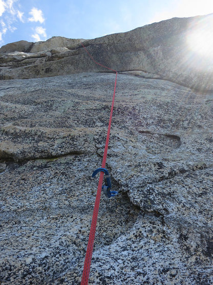 Rock Climbing Photo: The route wanders out left of the arch for some pr...