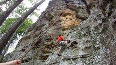 Rock Climbing Photo: Climbing a chimney at Giant City