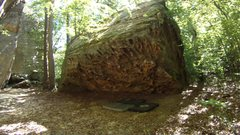 Rock Climbing Photo: A large chunk of sandstone rock, complete with man...