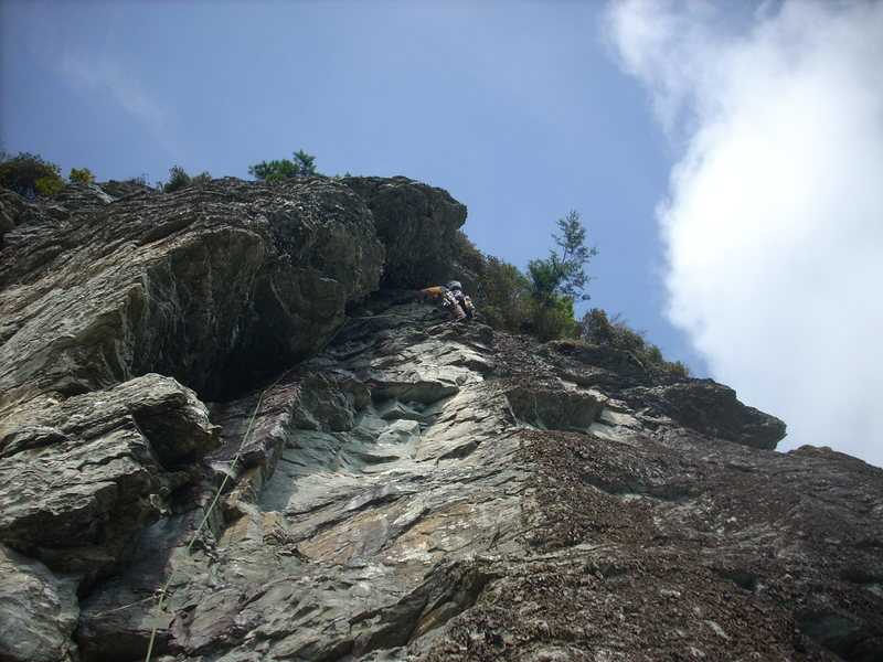 Rock Climbing Photo: Field's Direct looking up from the bolted belay on...