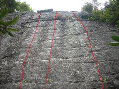 Rock Climbing Photo: Cameron's Wall  1. Cameo 2. Cadence 3. Camaraderie