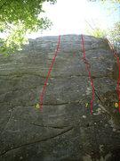 "Rock Climbing Photo: Right three climbs on the ""TR Wall"""