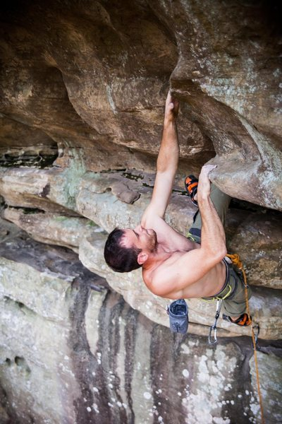 Rock Climbing Photo: Russ on Top Hat and Cane, a new route at the Gentl...