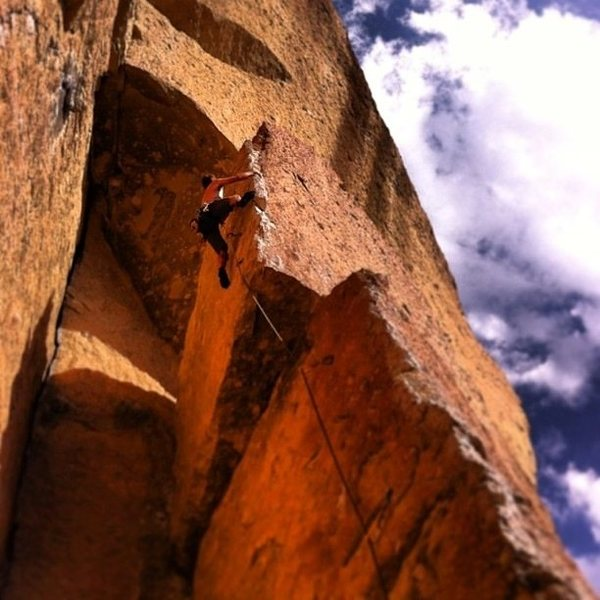 Rock Climbing Photo: Double Trouble - 5.10b at Smith Rock on a way too ...