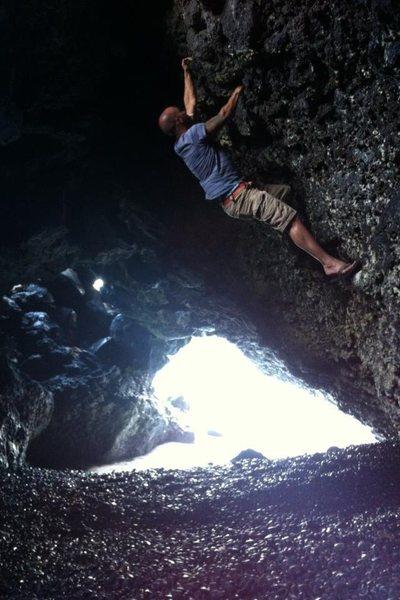 Climbing at Wainapanapa Beach Maui.