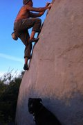 Rock Climbing Photo: Making the ugly slab moves to the awesome flake on...