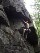 Rock Climbing Photo: Jay approaching the crux