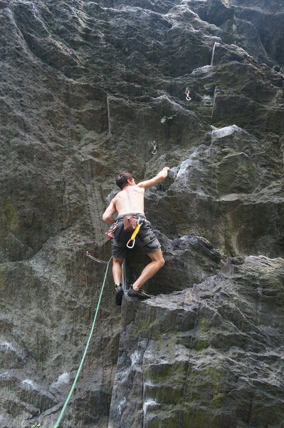Me on some random 5.10 in Rumney, a not so classic crag (IMHO).