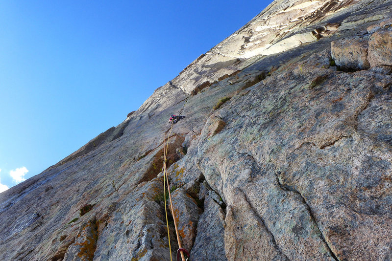 Rock Climbing Photo: Nate Erickson mid-2nd pitch. Sept., '13.