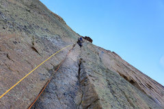 Rock Climbing Photo: Last pitch of Casual Route. Nate Erickson. Sept., ...