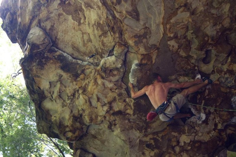 """Toe hook on """"Solstice,"""" 5.12a"""