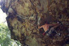 "Rock Climbing Photo: Toe hook on ""Solstice,"" 5.12a"
