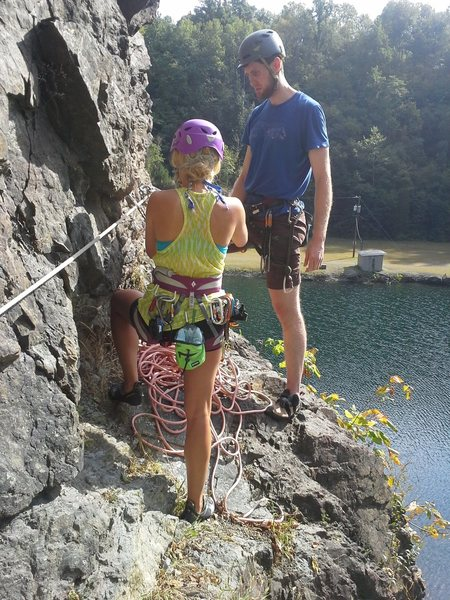 Alexis and Ben at the base of Battling T-Rex (aka belay ledge at the top of Get Wet).