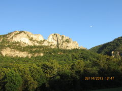 Rock Climbing Photo: seneca under the moon