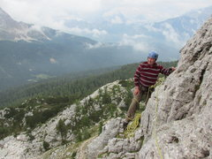 Rock Climbing Photo: First belay ledge, Torre Lusy.