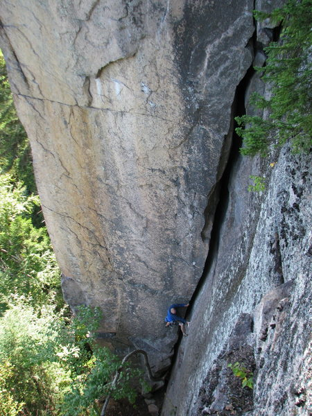 Rock Climbing Photo: Todd Shaffer low on the Jolly Green Giant