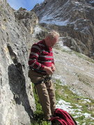 Rock Climbing Photo: Rodger, getting tied in on Torre Piccola Falzarego...