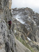 Rock Climbing Photo: The easy but exposed traverse on pitch 2 of via de...