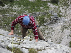 Rock Climbing Photo: Pitch 5, shortly after the crux moves at UIAA IV+,...