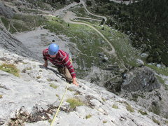 Rock Climbing Photo: Moving over to the final edge or Arete which leads...