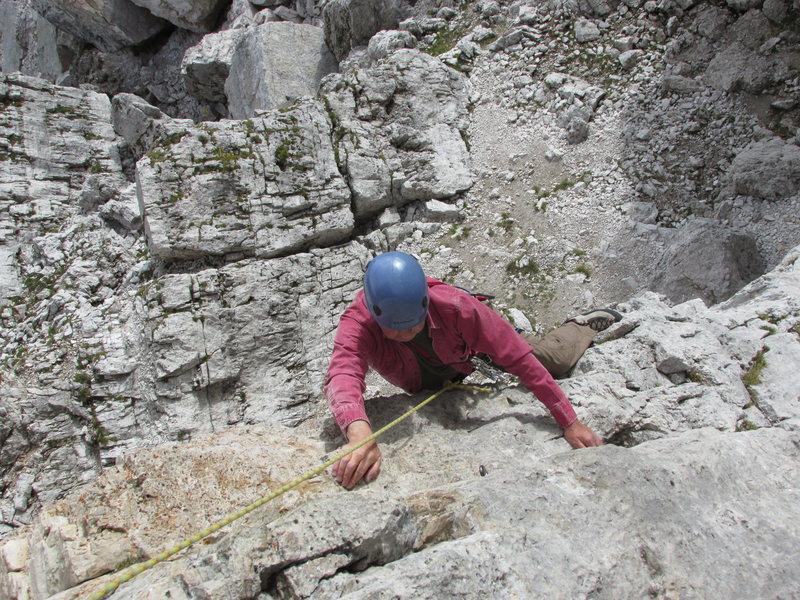 Climbing Torre Quarta Bassa, Regular Route. (16 September 2013).