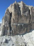 """Rock Climbing Photo: Sass Pordoi, showing both """"Mariakante,"""" ..."""