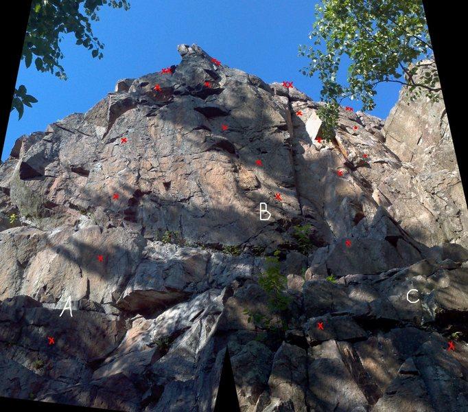 Rock Climbing Photo: A= Vol de nuit B= Corneille C= Smeg Head