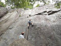 Rock Climbing Photo: Easy Layback at Carderock.