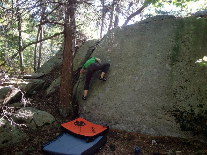 Rock Climbing Photo: Ryan on Super Clap (V3-V4).  Sticky Rubber Dischar...
