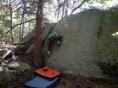 Rock Climbing Photo: Ryan on Super Clap (V3-V4).  Sticky Rubber Dischar...