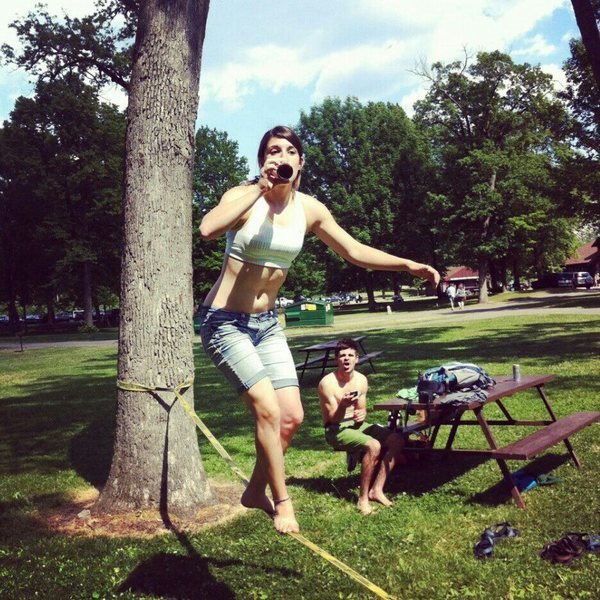 Slacklining at Devil's Lake on my 21st!