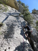 Rock Climbing Photo: Fanny starting L'Isle sur Sorgue
