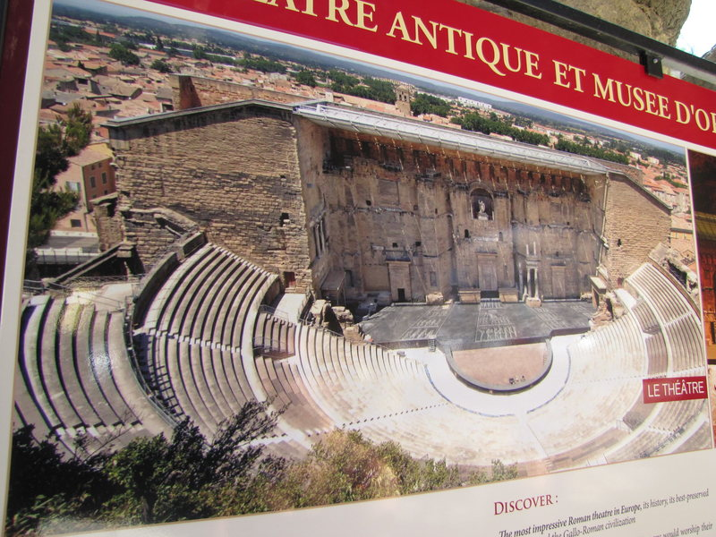 Orange (quite far away from Buoux but good to see if you're driving to Fontainebleau, for example) has possibly the most impressive Roman theater in Europe. I was too cheap to pay to see it so I took this photo of the picture at the entrance.